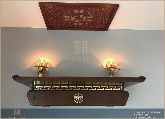 Mẫu bàn thờ phật 2 tầng treo tường với thiết kế hiện đại