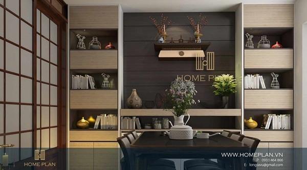Hình ảnh minh họa chung cư sử dụng bàn thờ treo tường của Bàn Thờ Niết Bàn