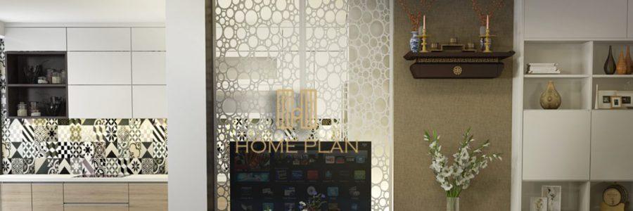 Mẫu bàn thờ treo tường hiện đại Nghinh Lộc trong không gian chung cư