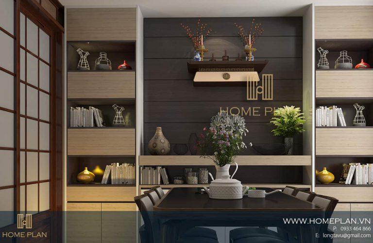 bàn thờ treo tường mặt cánh màu trắng trong căn hộ chung cư hiện đại